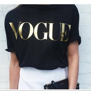 VOGUE Gold S-5X Graphic Black Crew Tee Shirt shirt